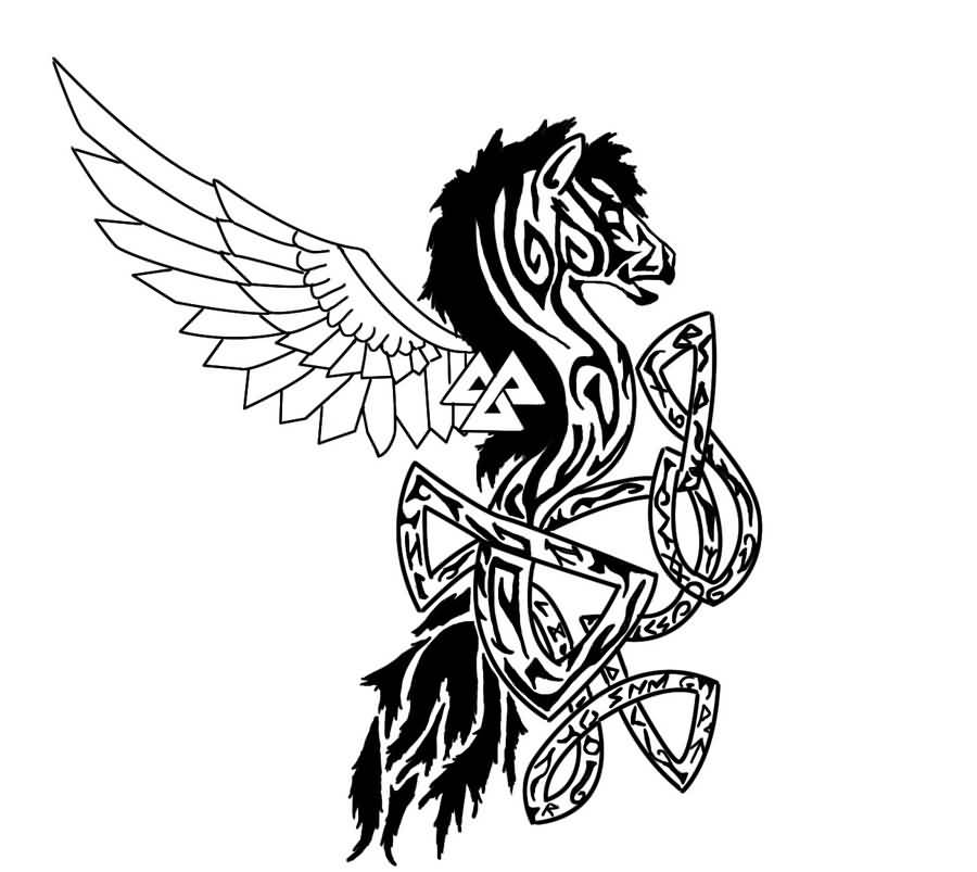 Nice Black Ink Stencil Of Pegasus Celtic Tattoo