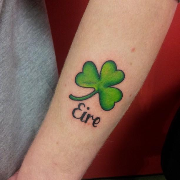 Nice Black Ink Text With Simple Shamrock Tattoo Design Idea