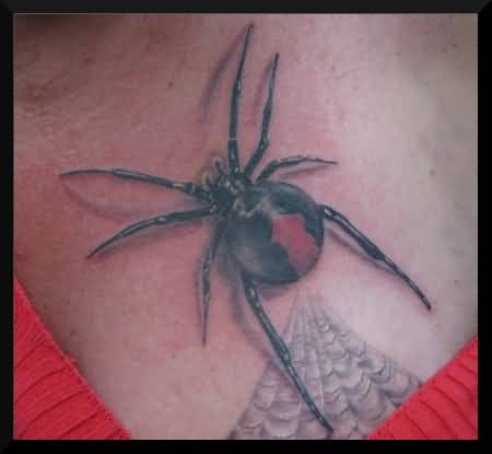 Nice Black Widow With Simple Web Tattoo On Chest
