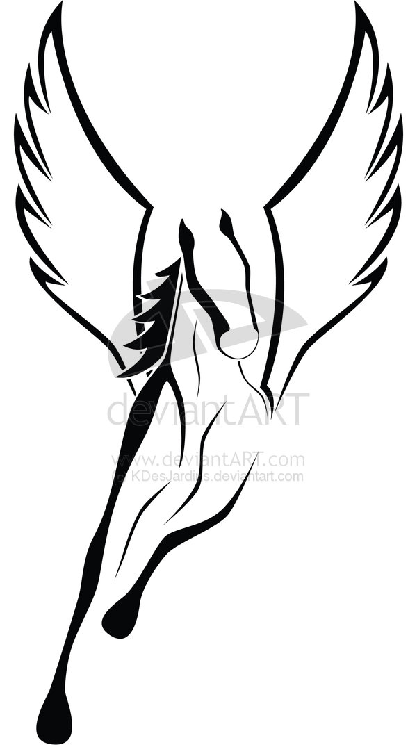 Nice Black Wings Amazing Pegasus Tattoo Stencil