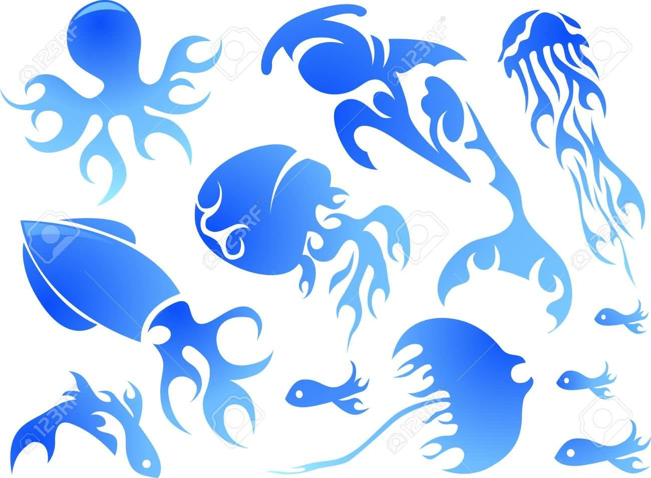 Nice Blue Ink Sea Creature Tattoo