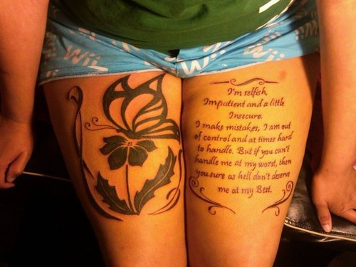 Nice Butterfly With Black Flower Marilyn Monroe Tattoo Of Amazing Quote