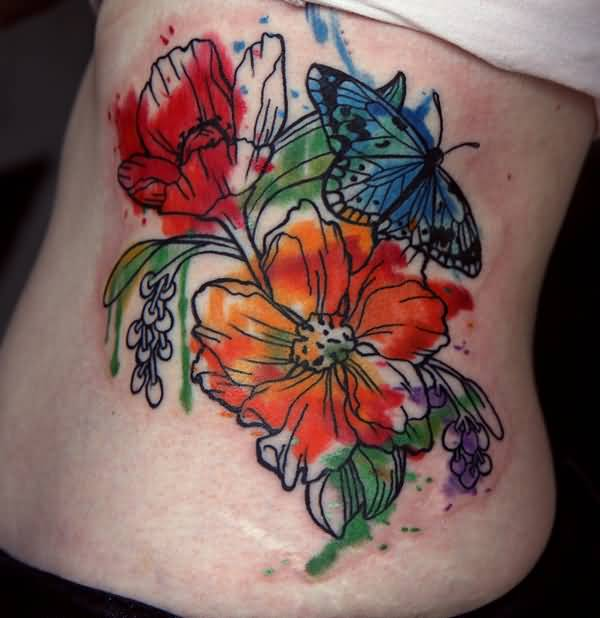 Nice Butterfly With Gladiolus Flower Watercolor Tattoo For Girl
