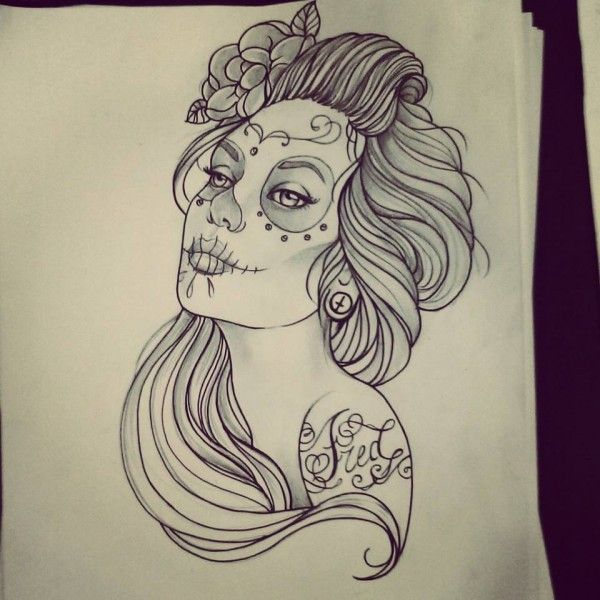 Nice Catrina Face Tattoo Design Stencil