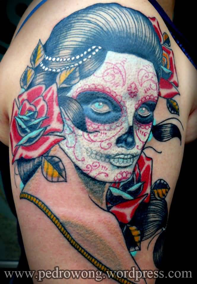 Nice Catrina Face Tattoo On Shoulder