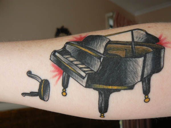 Piano tattoo done by Matt Wisdom on the 16th April 09
