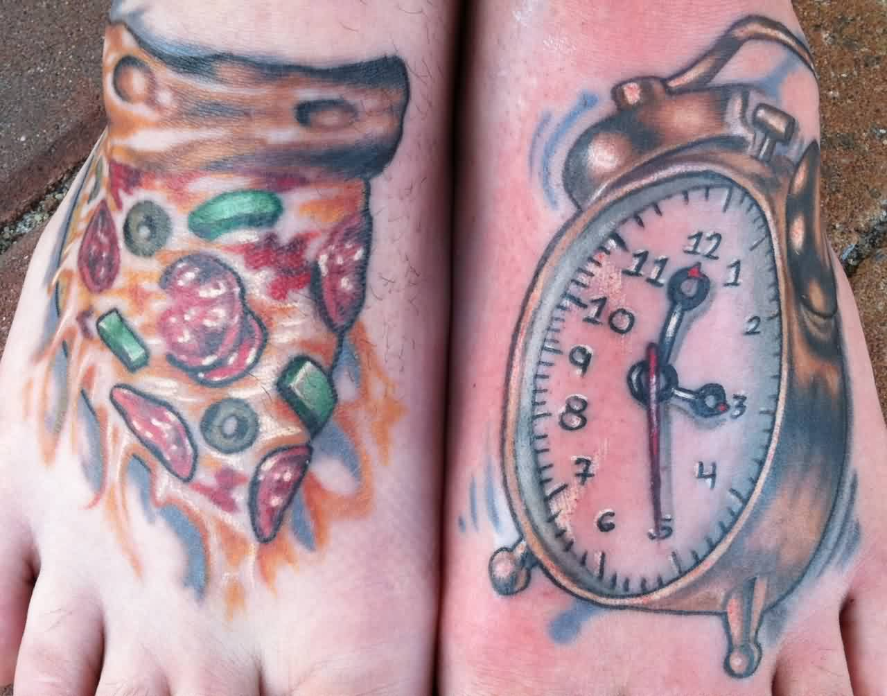 Nice Clock With Outstanding Pizza Tattoo On Foot