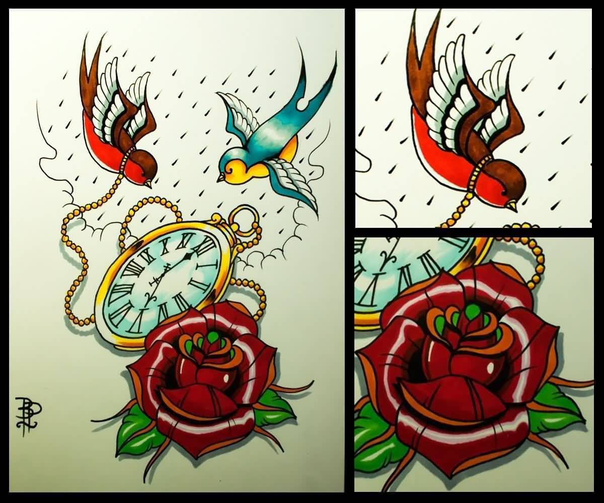 Nice Collection Of Old School Rose And Clock Flying Swallows Tattoo