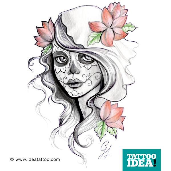 Nice Colored Flower Wit h Simple Sketch Of Catrina Tattoo