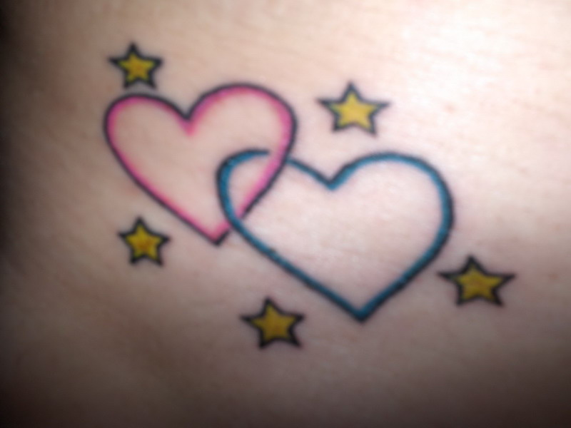 Nice Colorful Hearts Love Stars Tattoo
