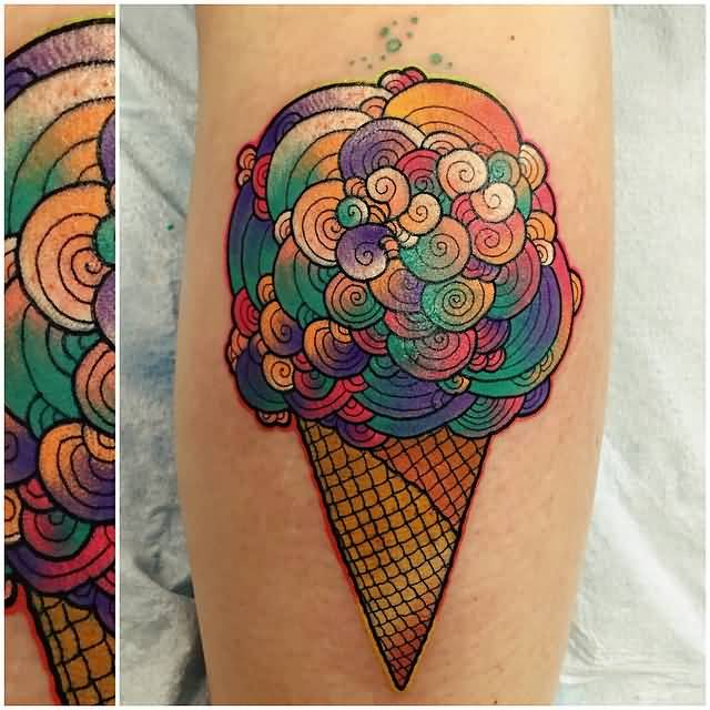 Nice Cone Ice Cream Cone Tattoo Design