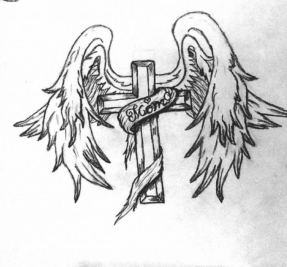 Nice Cross With Simple Banner Angel Wings Tattoo Design Idea