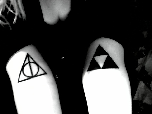 Nice Dark Black Triforce Deathly Hallows Tattoo