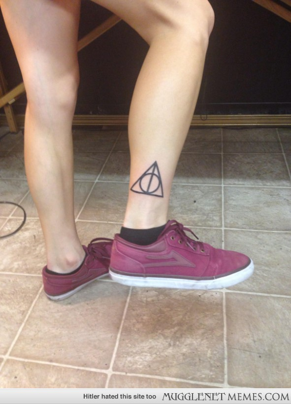 Nice Deathly Hallows Tattoo On Ankle
