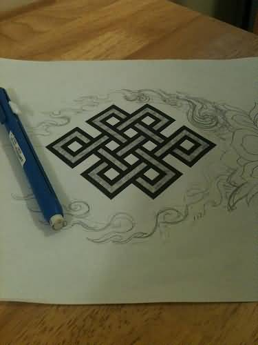 Nice Design Of Endless Knot Tattoo