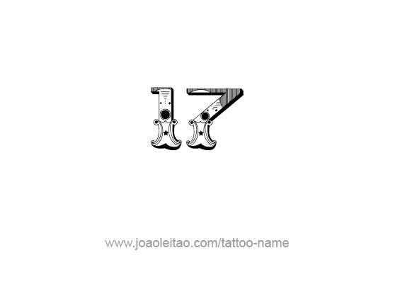 Nice Design Of Seventeen Number Tattoo Stencil
