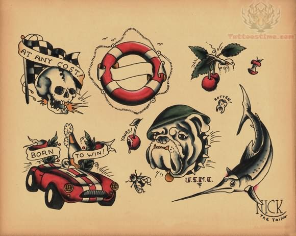 Nice Designs Of Amazing Old School Tattoo