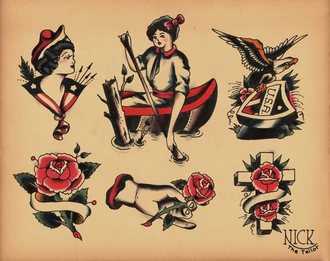 Nice Designs Of Beautiful Roses And Old School Girl Tattoo