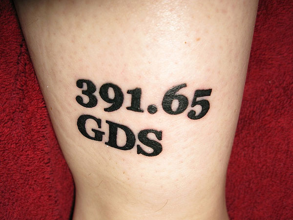 Nice Digits With Black Initial Numbers Tattoo On Leg