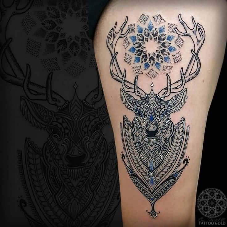 Nice Dotwork Flower With Mosaic Deer Face Tattoo