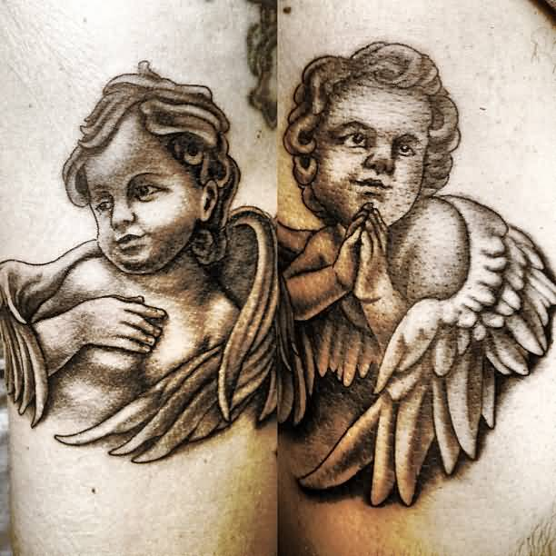 Nice Dotwork Praying Angel Baby Tattoo