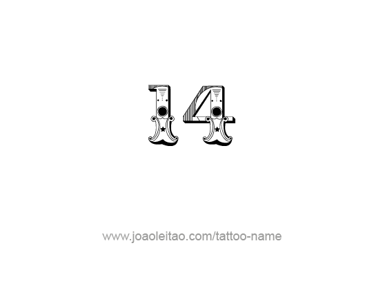 Nice Drawing Of Fourteen Number Tattoo