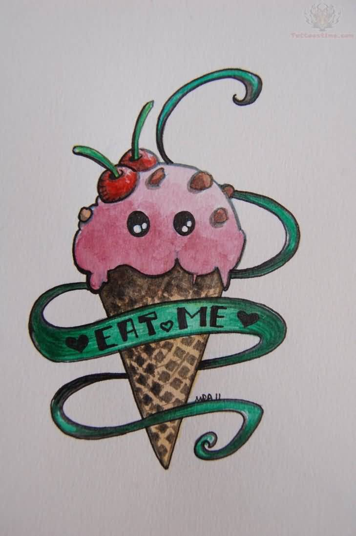 Nice Eat Me Banner Ice Cream Cone Tattoo