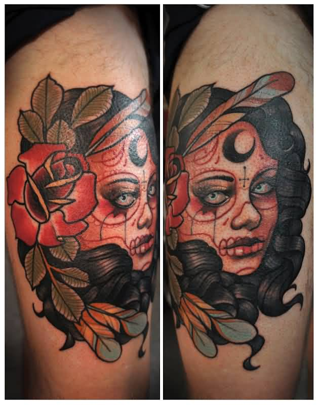 Nice Feathers And Red Flowers Catrina Tattoo