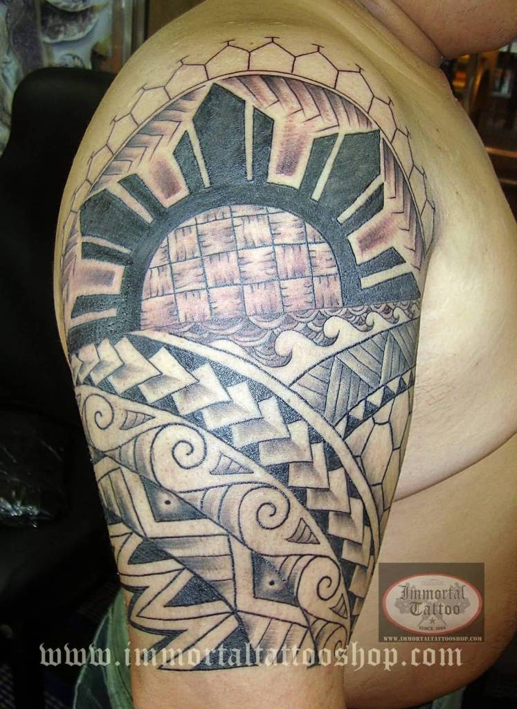 Nice Filipino Sun And Polynesian Tribal Tattoo For Men