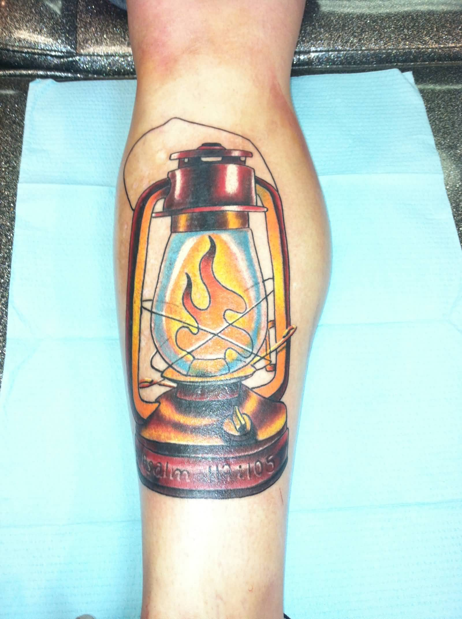 Nice Flame Amazing Lantern Tattoo