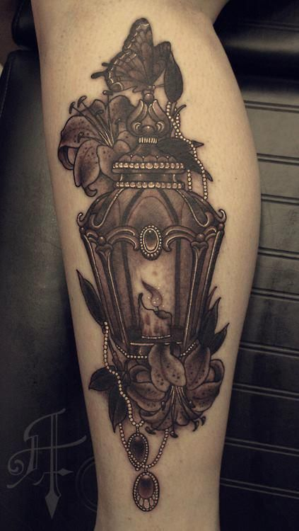 Nice Flower Amazing Antique Lantern Tattoo