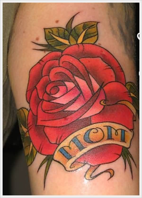 Nice Flower Mom Banner Tattoo