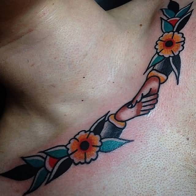 Nice Flower Old School Necklace Shake Hands Tattoo