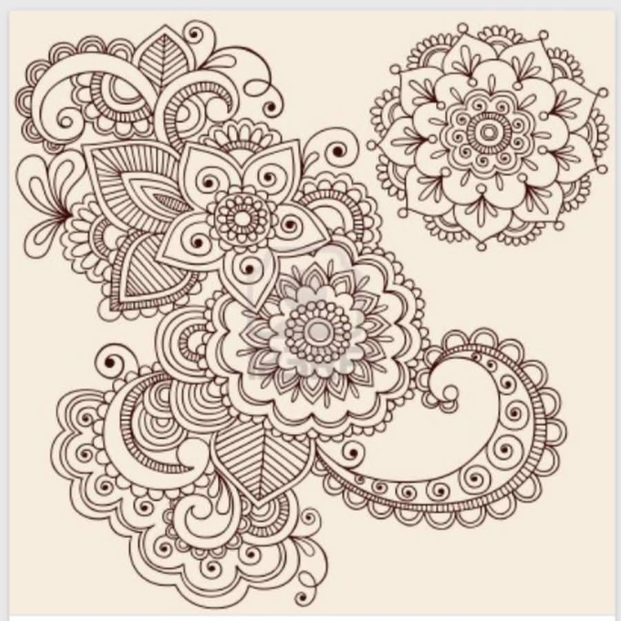 Nice Flower Paisley Pattern Tattoo Design