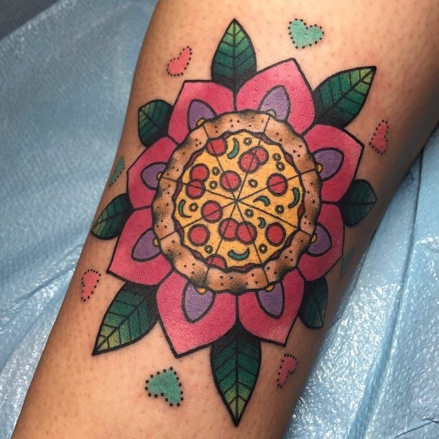 Nice Flower Pizza Tattoo With Small Hearts