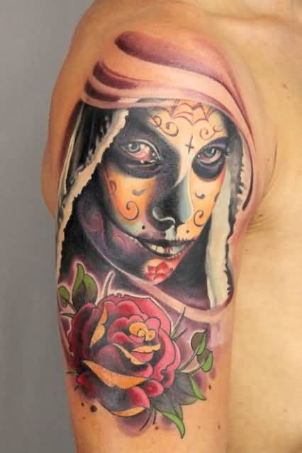 Nice Flower With Amazing Catrina Face Tattoo For Men