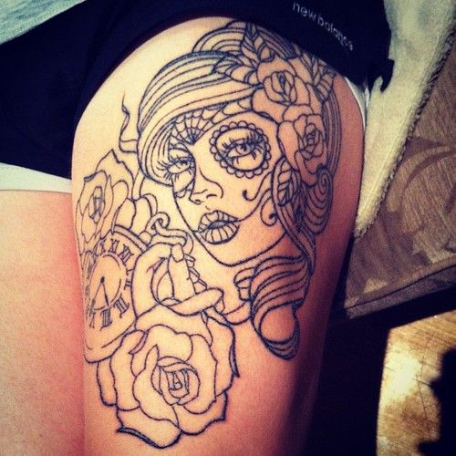 Nice Flower With Girl Face Scarification Tattoo Idea On Leg