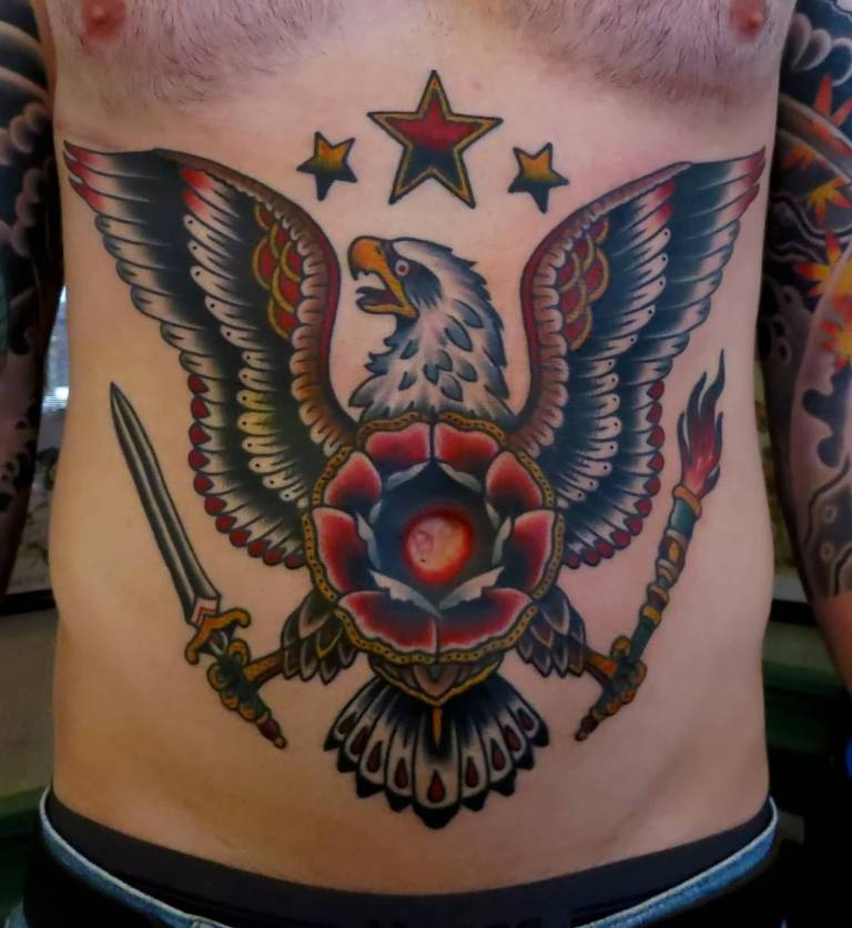 Nice Flower With Old School Eagle With Stars Tattoo For Men