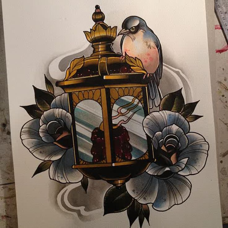 Nice Flower With Swallow Antique Lantern Tattoo