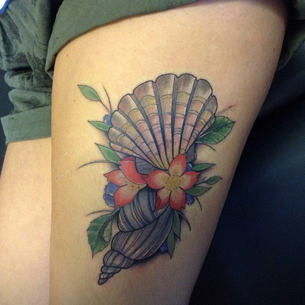Nice Flowers Amazing Sea Creature Shell Tattoo On Thigh