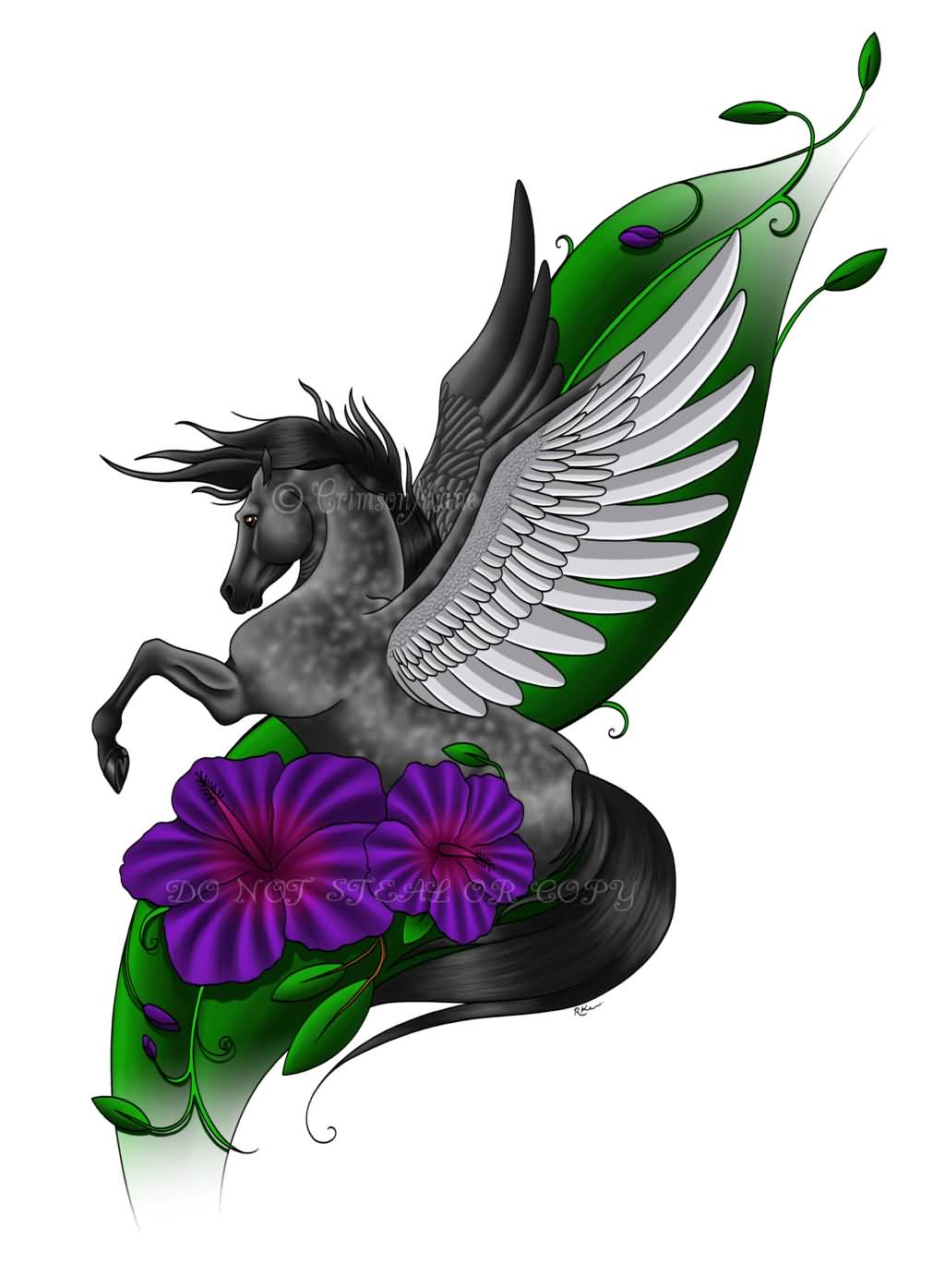 Nice Flowers With Amazing Pegasus Tattoo Design Stencil