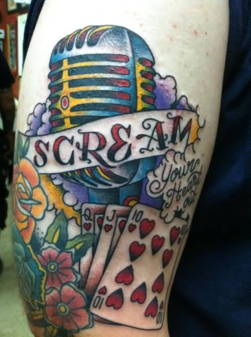 Nice Flowers With Old School Microphones Tattoo On Half Sleeve