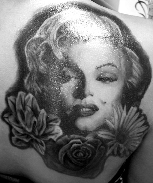 Nice Flowers With Upper Back Marilyn Monroe Girl Face Tattoo