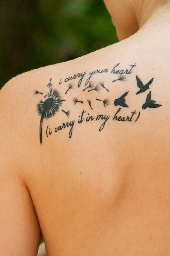 Nice Flying Birds Poem Tattoo Design Idea