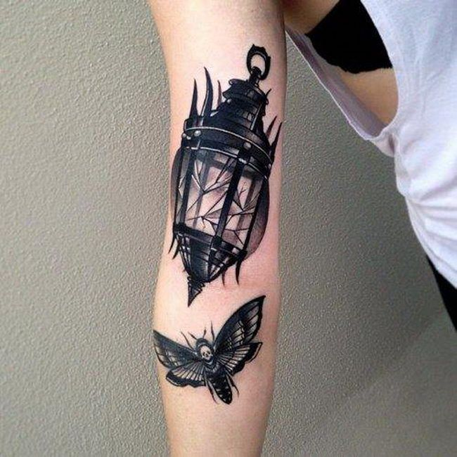 Nice Flying Butterfly Lantern Lamp Tattoo