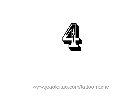 Nice Four Number Tattoo Design Idea