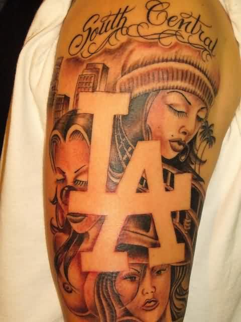 Nice Girl Face Gangsta Tattoo On Half Sleeve