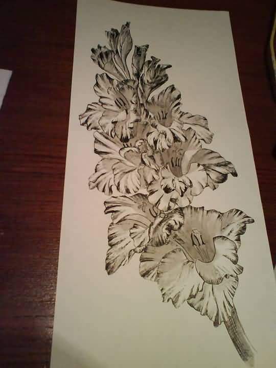 Nice Gladiolus Flower Bouquet Tattoo Stencil