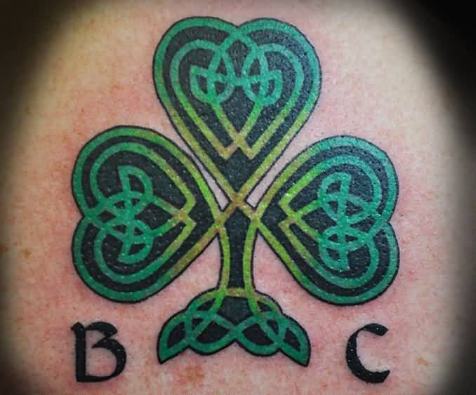 Nice Green And Black Ink Nice Shamrock Tattoo Of Celtic