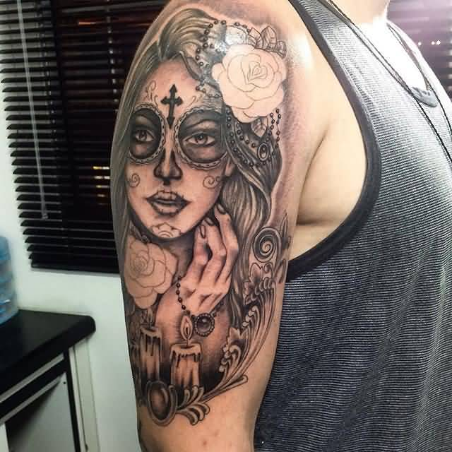 Nice Half Sleeve Amazing Candles With Latino Catrina Girl Tattoo